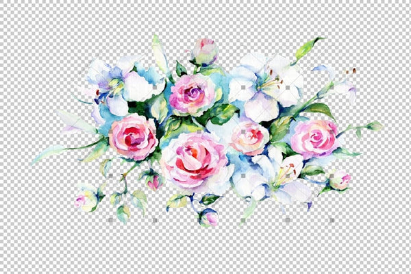 Festive Bouquet Of Flowers Png Watercolor Set Flower