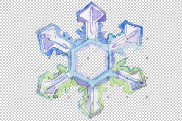 Watercolor Colorful Snowflakes Png Set Digital