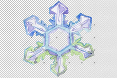Watercolor Colorful Snowflakes Png Սահմանել Թվային