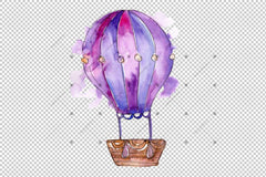 Hot Air Ballon Png Watercolor Set Digital