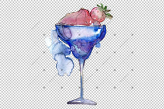 Eksotik Cocktails Png Watercolor Set Digital