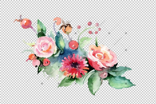 Cute Bouquet Flowers Png Watercolor Set Flower