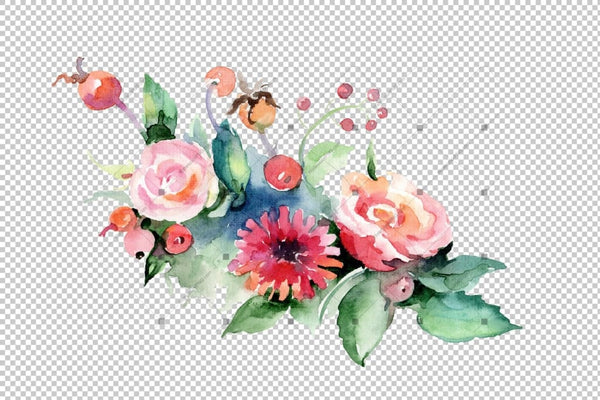 Bunga Bouquet Cute Png Watercolor Set Flower