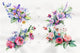 Cute bouquet flowers PNG watercolor set