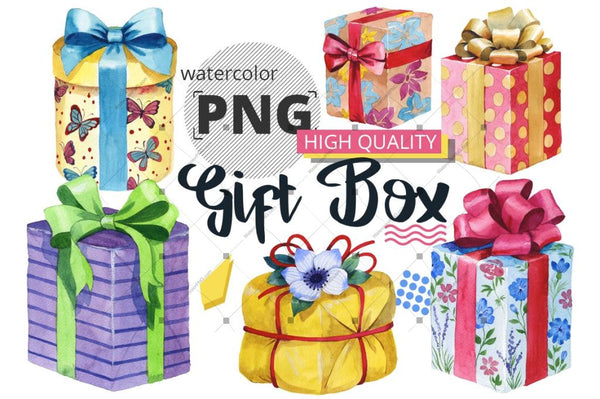 Gift Boxes Watercolor Png Set Digital