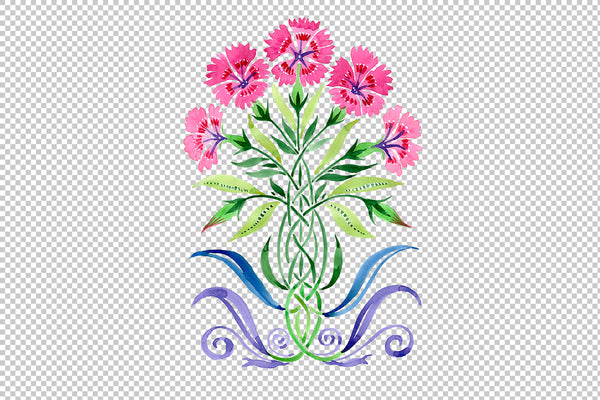 Ornament Carnations pink watercolor png