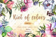 Cool bouquets flowers PNG watercolor set