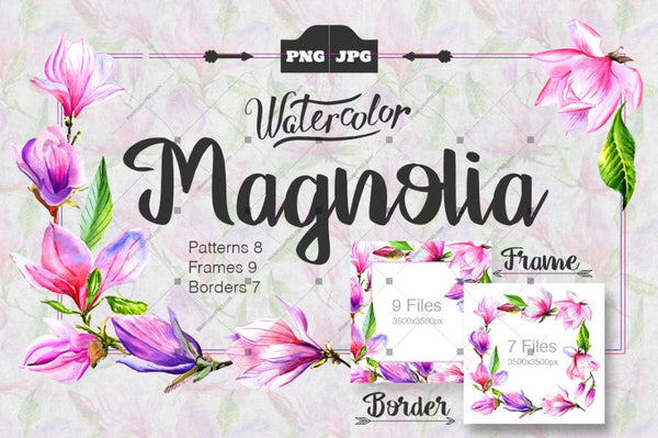 Magnolia Watercolor Png Set Digital