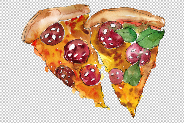 Pizza vegetable boom watercolor png
