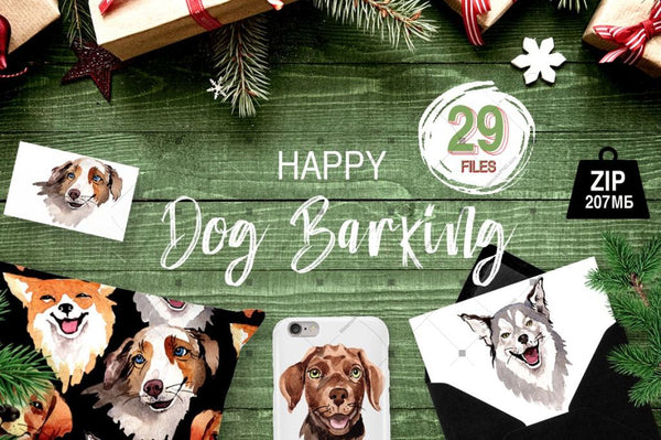 Dogs Barking New Year Png Watercolor Set Digital