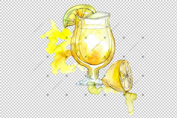Ice Tea Png Set acuarelă digitală