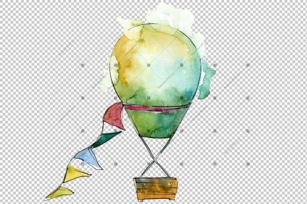 Watercolor Holiday Hot Air Balloon Png Set Digital
