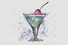 Bar Party Cocktail Drink Png Set de acuarelă Digital
