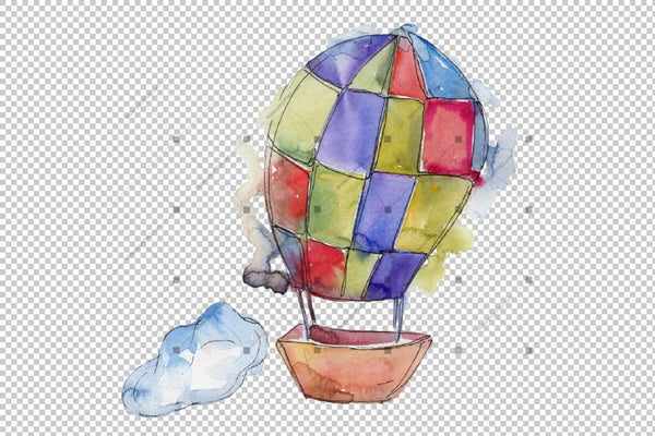 Watercolor Hot Air Balloon Png Set Digital