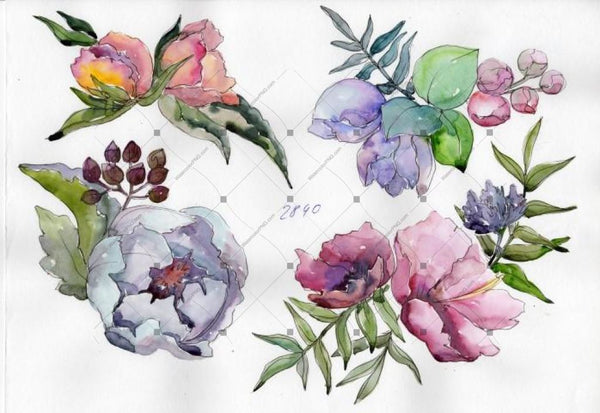 Delicate Bouquets Of Flowers Png Set Flower