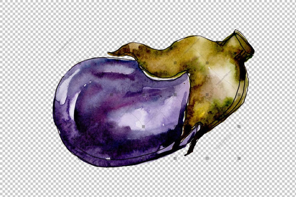 Purple Eggplant Vegetables Png Watercolor Set Digital