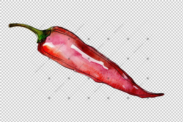 Red Pepper Vegetables Png Watercolor Set Digital