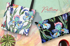 Irises PNG watercolor flower set