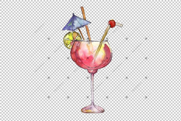 Bar Party Cocktail Drink Png Watercolor Set Digital