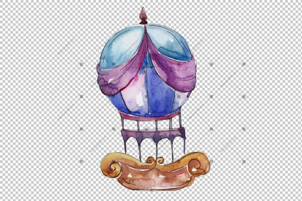 Aquarelle Hot Air Balloon Png Set Digital