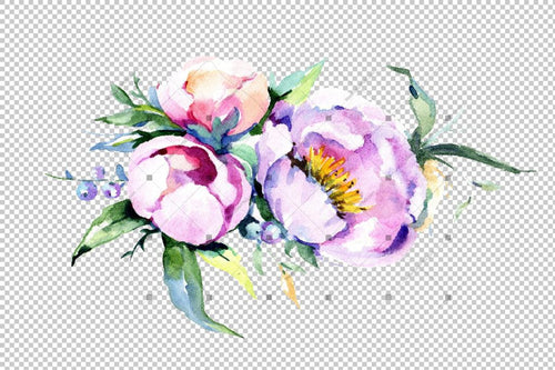 Elegant Bouquet Pink Flower Png Watercolor Set Flower