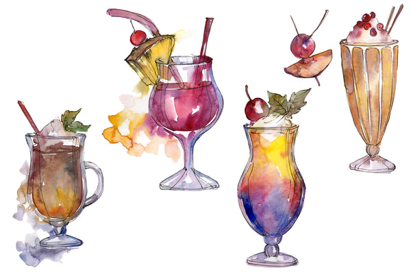 Acuarelă de cocktail-uri exotice de cocktail PNG set