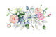 Celebration bouquet flowers PNG watercolor set