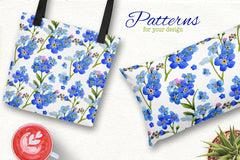 Myosotis flowers blue PNG watercolor set