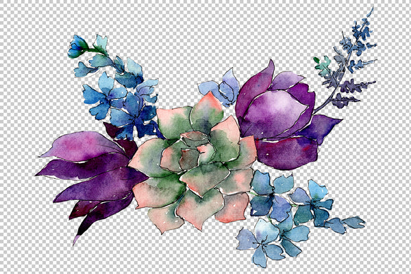 A bouquet of flowers Limitless joy watercolor PNG