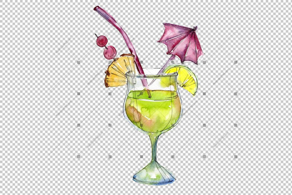 Tropical Cocktails Png Set acuarelă digitală