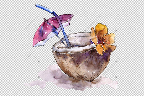 Tropical Cocktails Png Watercolor Set Digital