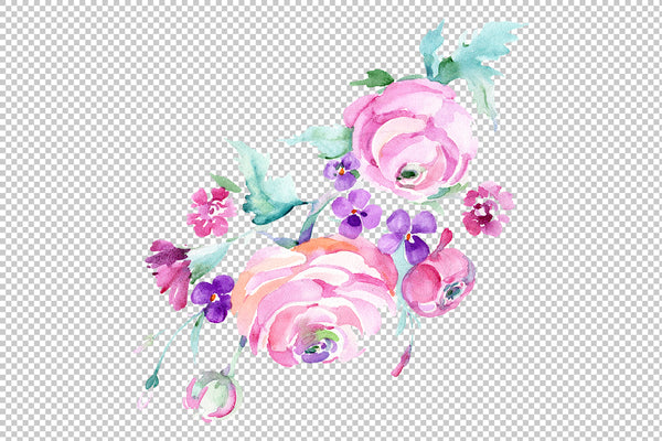 Bouquet Freshness Watercolor png