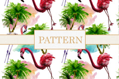 Flamingo Colorful watercolor patterns png