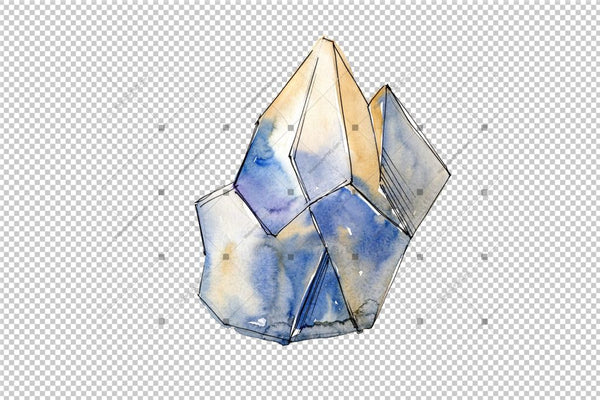 Cool Crystals Png Watercolor Set Digital