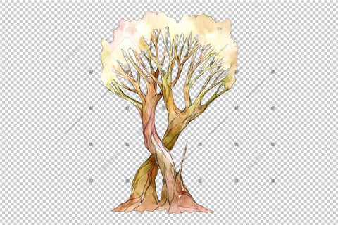 Watercolor Tree royalty free images