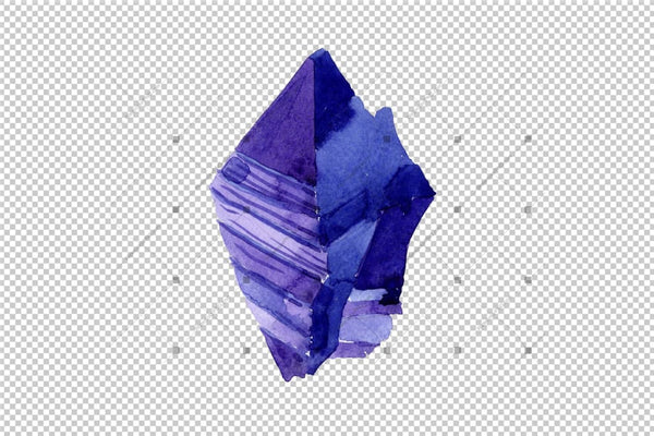 Aquarelle Geometric Blue Crystal Png Set Digital