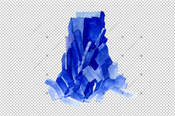 Aquarelle Blue Crystals And Splashes Png Set Digital