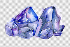 Blue Mineral Png Watercolor Set Digital