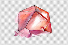Beautiful Crystals Png Watercolor Set Digital