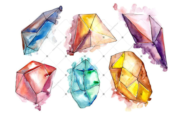 Beautiful Crystals Png Set acuarelă digitală