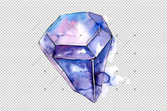 Aquarelle Geometric Crystal Png Raqamli To'siq