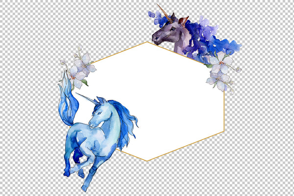 Magical Watercolor Unicorn png Digital Art