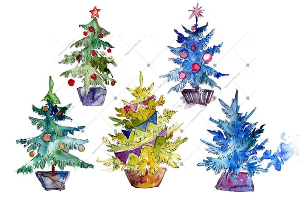 Green Christmas Tree Png Watercolor Set Digital