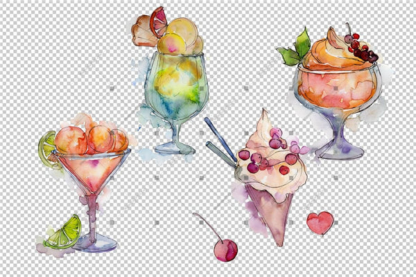 Delicious Ice Cream In A Glass Cup Png Set Digital