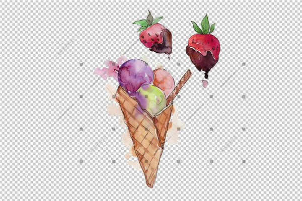 Acuarelă Mix Cool Ice Cream Png Set Digital