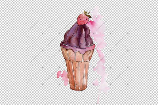 Tasty Ice Cream In A Waffle Cup Png Set Digital
