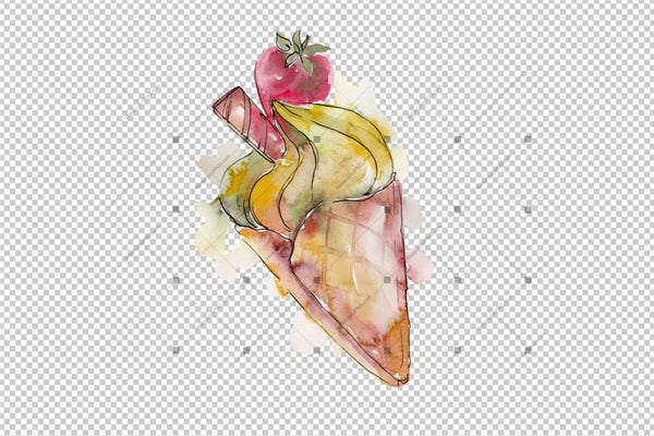 Watercolor Yummy-Yummy Ice Cream Png Set Digital