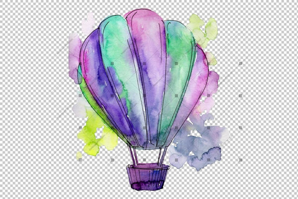 Colorful Hot Air Balloon Png Set Digital