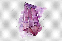 Colorful Crystals Png Watercolor Set Digital