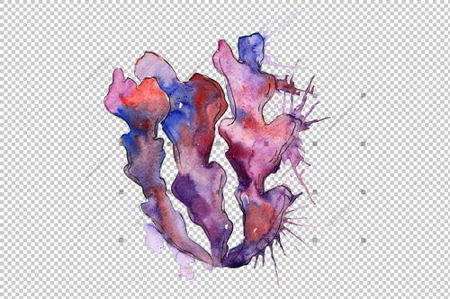 Purple Coral Png Watercolor Set Digital